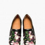 Givenchy- Black Leather Floral Print Slip-On Shoes