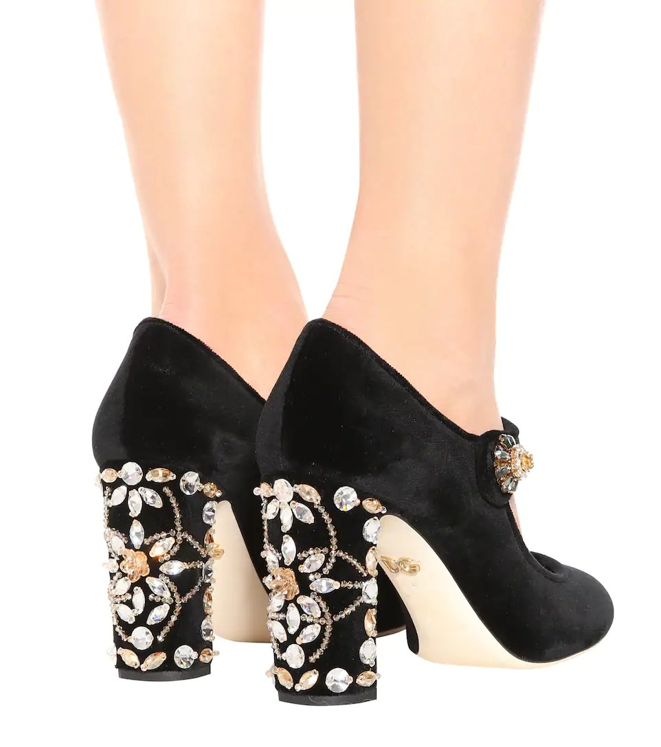 c8821f5101c DOLCE & GABBANA - Embellished velvet Mary Jane pumps